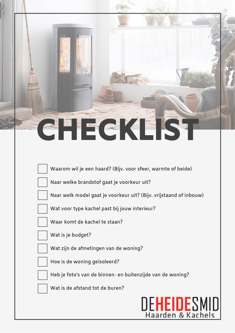Checklist bij aankoop van een haard of kachel